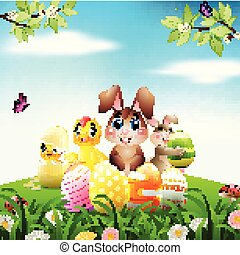 Easter Bunny with baby chicks and duckling on a meadow