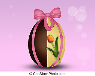 Easter chocolate eggs decorated - illustration of Easter...