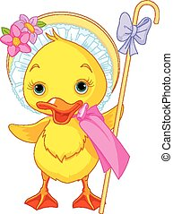 Easter Duckling with shepherdess st - Illustration of Easter...