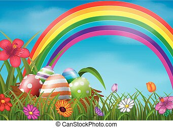 Easter eggs and colorful in the basket
