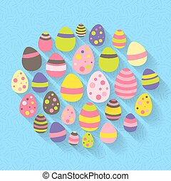 Easter eggs icon set on a blue