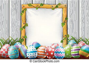 easter eggs in the garden with blank frame