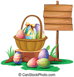 Easter eggs near a wooden signboard