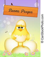 Easter postcard - illustration of Easter postcard