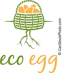 Illustration of eco eggs in basket with root. Vector