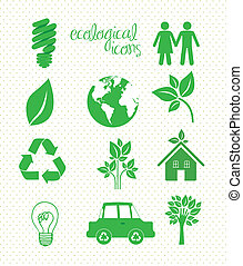 illustration of ecological icons on dottes background, vector illustration