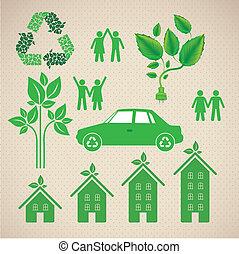 illustration of ecological icons