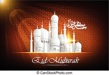 Eid Mubarak background with mosque - Illustration of Eid...