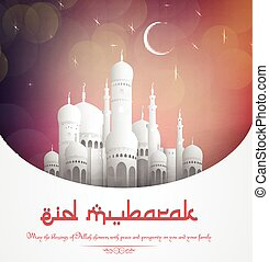 Eid Mubarak background with mosque