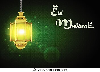 Eid Mubarak with illuminated lamp - Illustration of Eid...