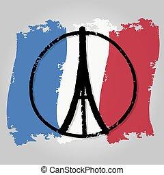 peace symbol icon on France flag