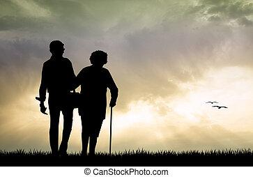 elderly couple at sunset - illustration of elderly couple at...