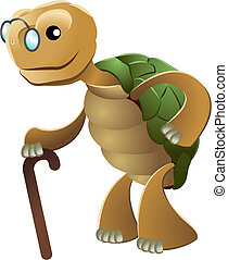 Illustration of elderly tortoise wearing eyeglasses and...