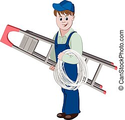 Illustration of electrician or cable guy standing with a ladder and a cable