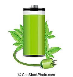 illustration of electronic battery on isolated background
