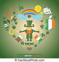 illustration of elements of Irish design 1 for St. Patricks day holiday, drawn in flat style