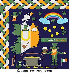 illustration of elements of Irish design 2 for St. Patricks day holiday, drawn in flat style