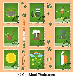 illustration of elements of Irish design for St. Patricks day celebration, in the form of postage stamps, painted in flat style