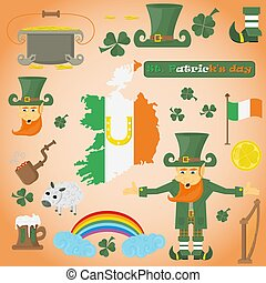 illustration of elements of Irish design for St. Patricks day holiday, drawn in flat style