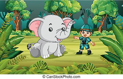 Elephant and adventurer in the jungle