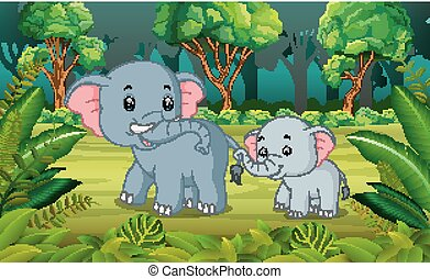 Elephant and baby elephant in the forest