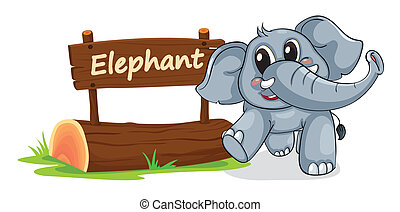 elephant and name plate - illustration of elephant and name...