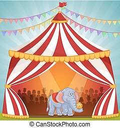Illustration of elephant in Circus