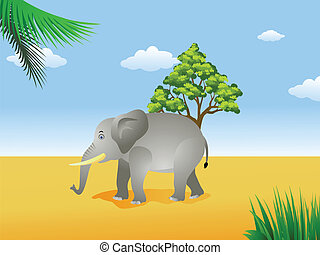 elephant in the savanna