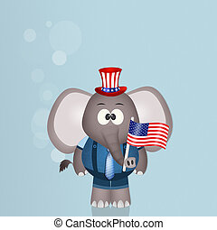 elephant with American flag for July 4th