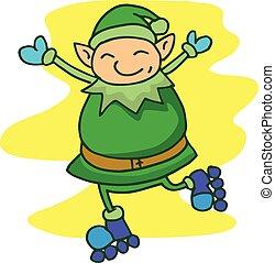 Illustration of Elf with roller skates