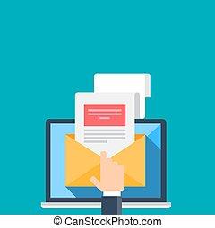 Illustration of email on a blue background. Vector illustration.