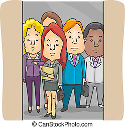 Employees - Illustration of Employees in an Elevator