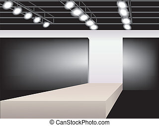 Fashion podium - illustration of empty runway. Fashion...