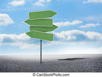 Illustration of empty signposts