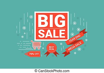 End of year big sale label - Illustration of End of year big...
