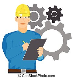 illustration of Engineer checking with clipboard vector isolated.