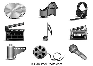 illustration of entertainment icons on white background