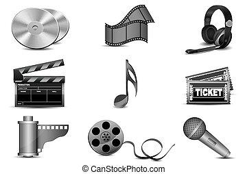 illustration of entertainment icons on white background