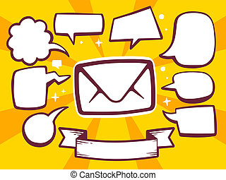 illustration of envelope with speech comics bubbles on ye