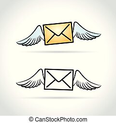 envelope with wings abstract concept