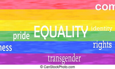 Illustration of Equality word lettering isolated on lgbt...