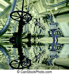 Illustration of Equipment, cables and piping with reflection