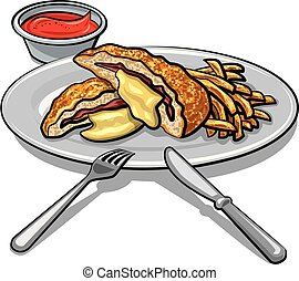 illustration of escalope with fries on a plate with tomato sauce