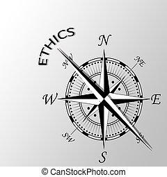 Illustration of ethics written aside compass