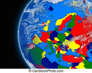 European continent on political globe - Illustration of ...