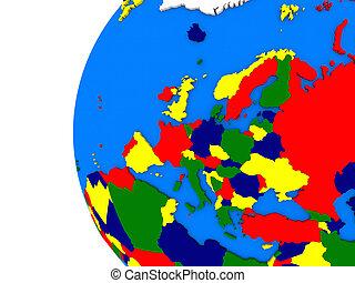European continent on political globe