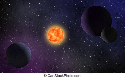 Illustration of exoplanet galaxy design background
