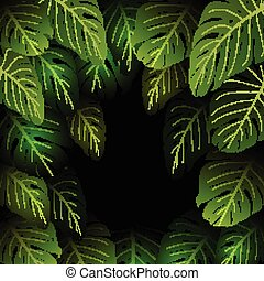 Exotic pattern with tropical leaves