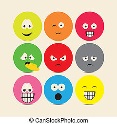 Illustration of expressions icons, with different gestures, vector illustration