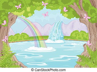 Fabulous Waterfall - Illustration of fairy landscape with...